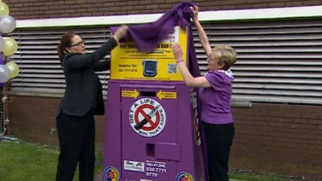 Stab victim Christina Edkins' mother (right) unveils a knife bin