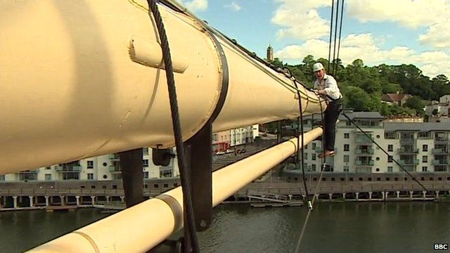John Maguire reporting from high up in the rigging of the SS Great Britain
