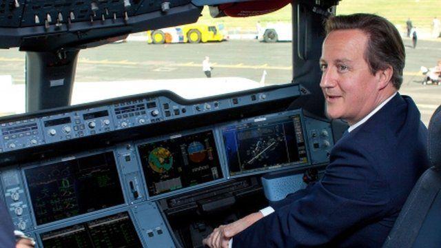 David Cameron at controls of new Airbus A350