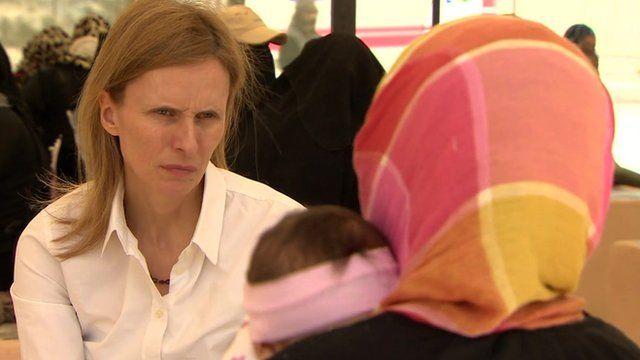 Syrian girl talking to Orla Guerin