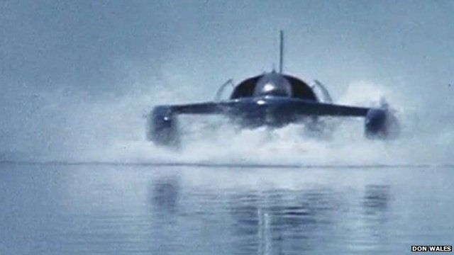 Footage still of Bluebird K7 jet-powered hydroplane
