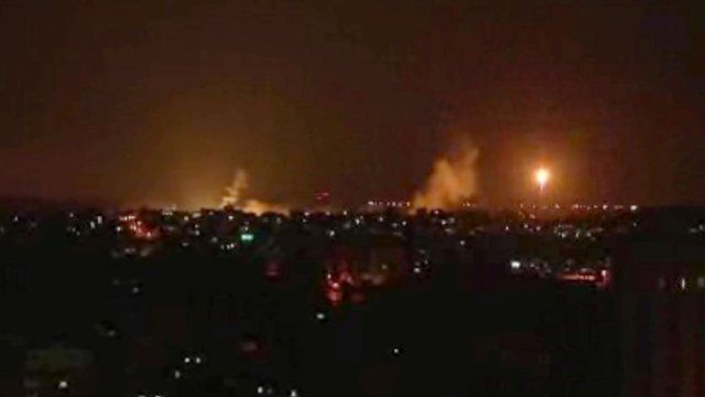 This image made from video shows the Gaza skyline during Israeli airstrikes Thursday, July 17, 2014