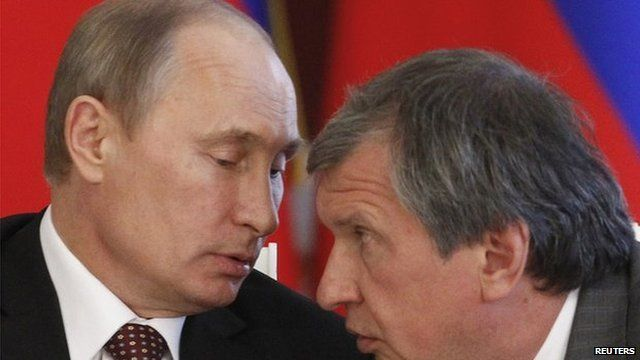 Rosneft boss Igor Sechin (right) is a close associate of President Putin