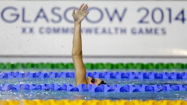 A swimmer practices at the Tollcross International Swimming Centre in Glasgow, Scotland, 22 July 2014