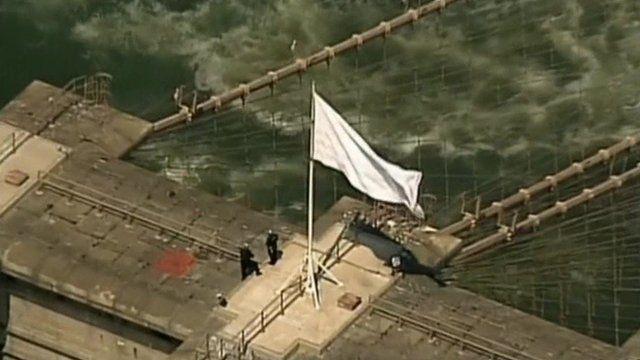 White flag on Brooklyn bridge
