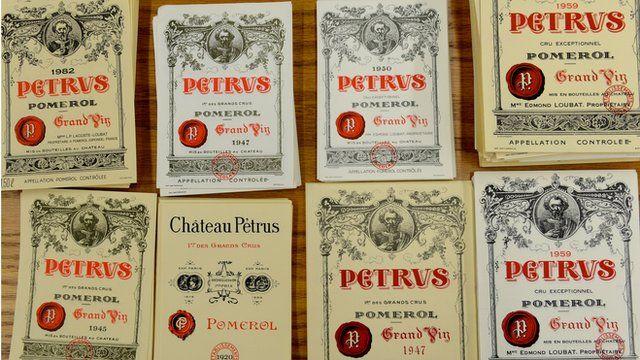 Wine labels used in Kurniawan trial