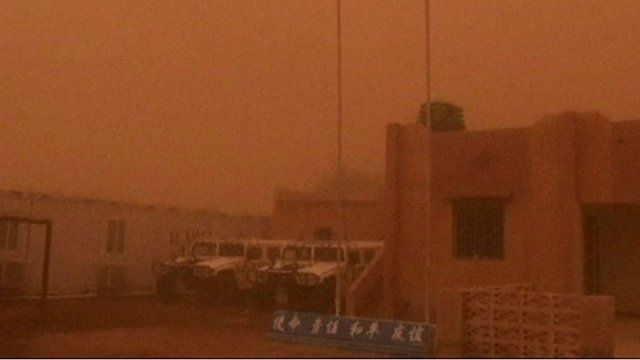 Still from footage shows sandstorm in Gao on 22 July