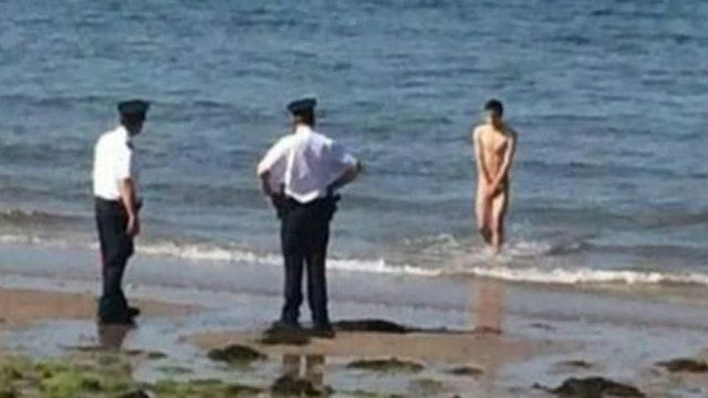 Police waiting for skinny dipper