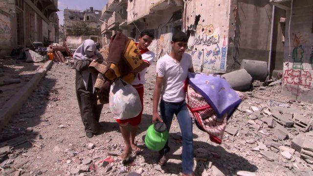 Gaza residents gather belongings
