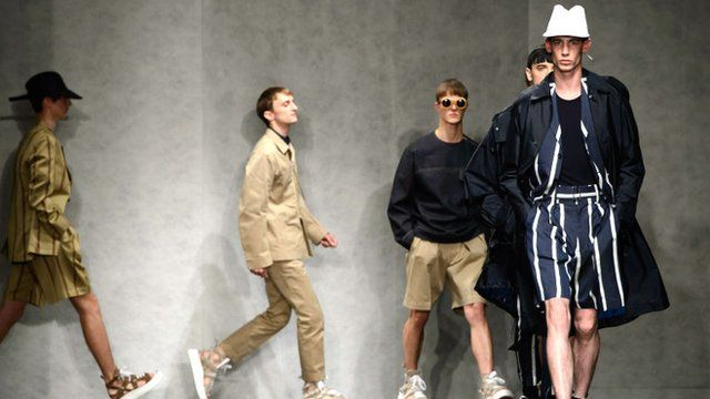 Models wear designs by E. Tautz during London Collections for Men Spring/Summer 2015