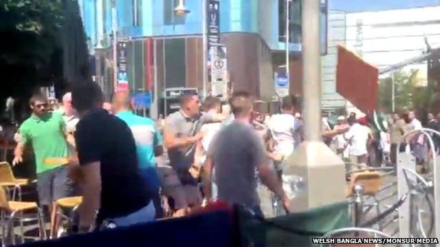 Violence breaks out in Mill Street, Cardiff, during a Gaza protest march