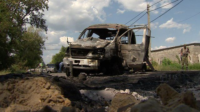 Wrecked vehicle in Donetsk