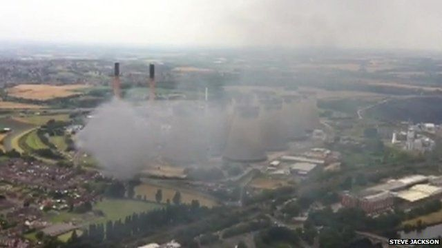 The fire seen from the helicopter