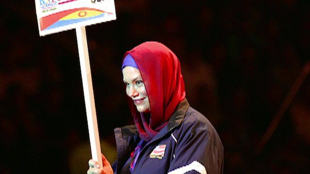 Christina Kelley leads the US team in the opening ceremony of 2014 Wrestling World Cup in Tehran, Iran.