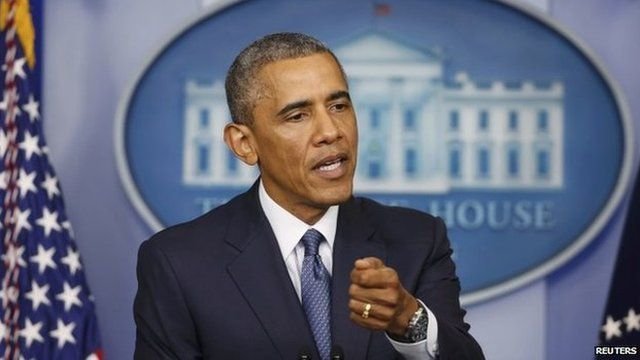 US President Barack Obama makes a statement while at the White House in Washington 1 August 2014