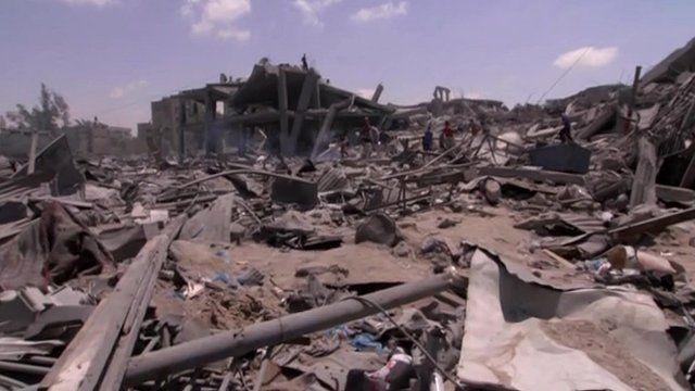 Ruined buildings in Gaza City, 2 August 2014