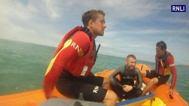 Two surfers rescued at low tide by RNLI lifeguards at Perranporth