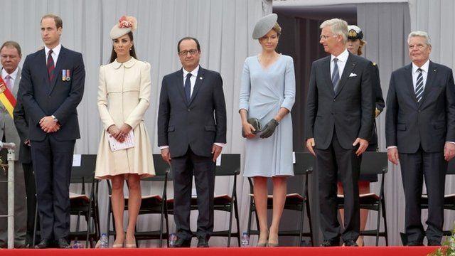 The Duke and Duchess of Cambridge, Francois Hollande, Queen Mathilde of Belgium, King Philippe of Belgium and Joachim Gauck,