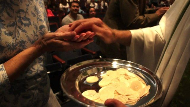 Holy Communion service in a church in the US