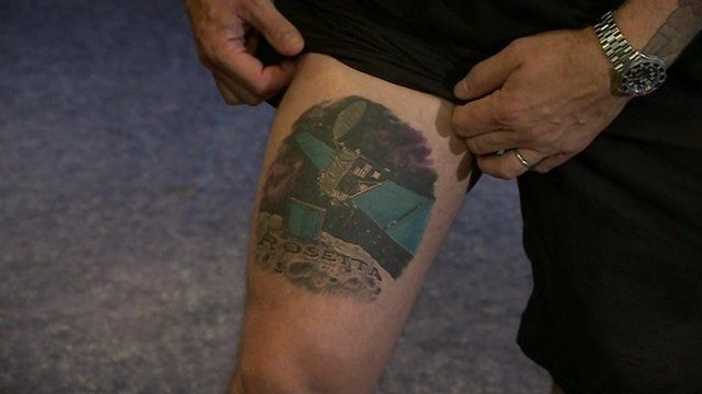 Dr Matt Taylor's Rosetta tattoo