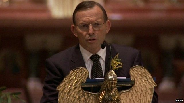 Australian PM Tony Abbott speaking at memorial service for victims of MH17 crash