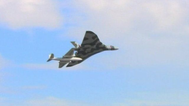 The Vulcan bomber flying above Newcastle