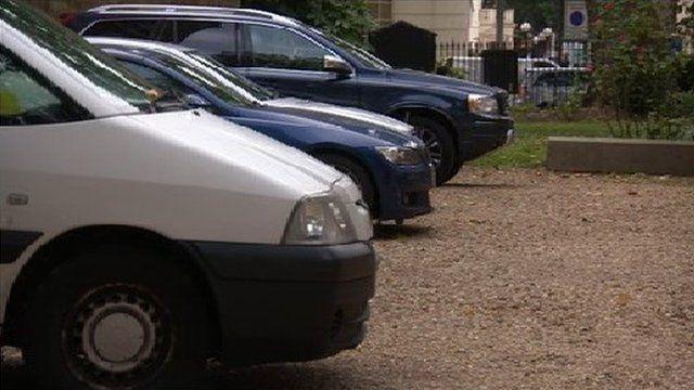 Cars park in St Pancras Church