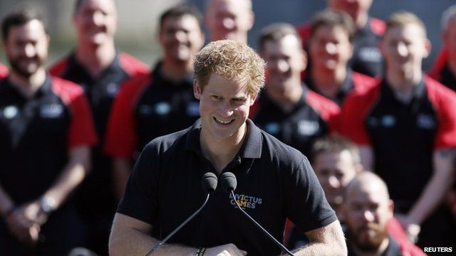 Prince Harry speaks during the British Armed Forces team announcement for the Invictus Games