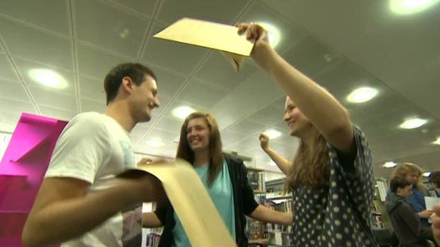 Pupils celebrating A-level results