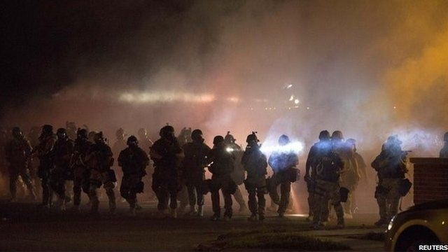 Police in Missouri during protests against shooting of Michael Brown