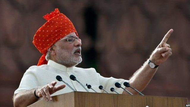 PM Narendra Modi delivers a speech on Independence Day at the Red Fort in Delhi on August 15, 2014