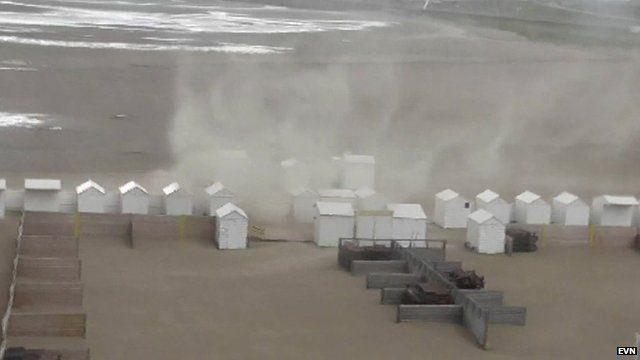 Waterspout on a Zeebrugge beach