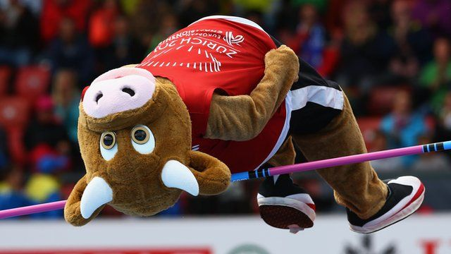 Cooly the mascot does the high jump at the European Athletics Championships in Zurich