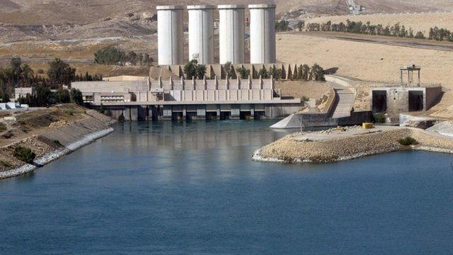 A general view shows the Mosul dam on the Tigris River around 50 kilometres north of the northern Iraqi city of Mosul