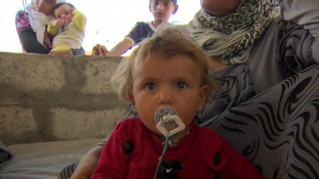 Baby in refugee camp