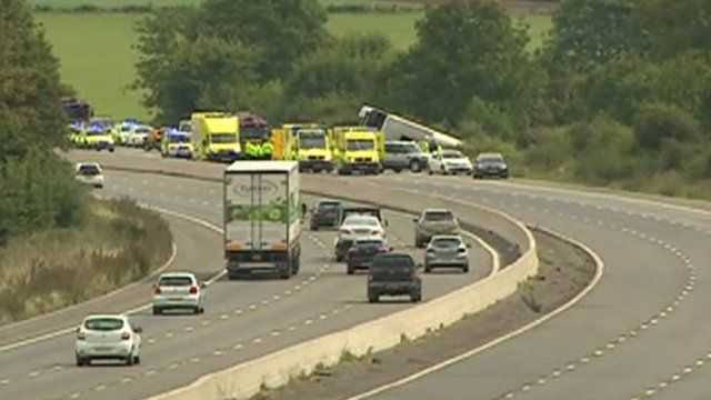 Coach overturned on motorway