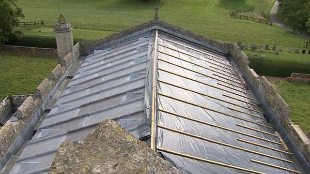 Church roof with lead stripped out