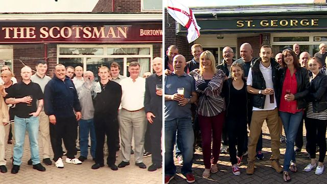 The pub in its previous incarnation as the Scotsman (left), and as the St George (right)