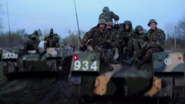 Ukrainian army troops and vehicles