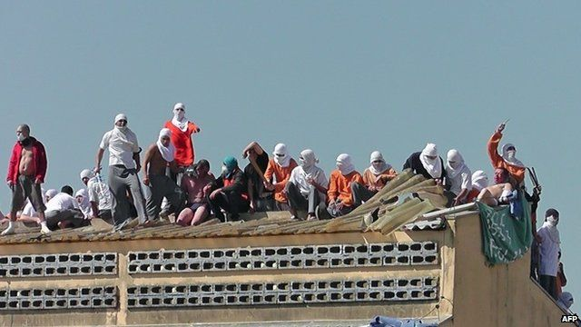Inmates taking hostages on roof of a prison