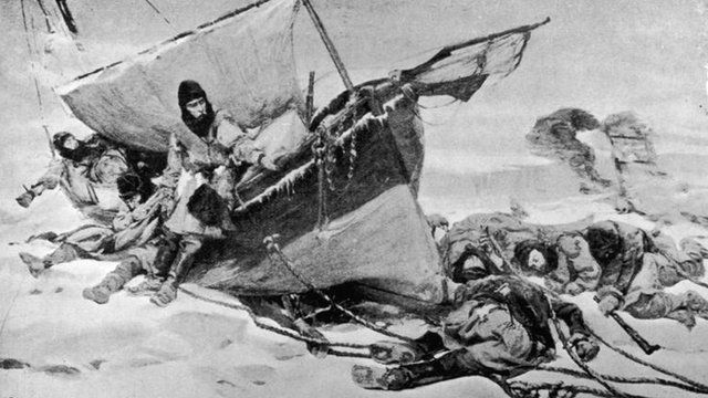 The End in Sight: Members of the ill-fated arctic expedition led by British explorer Sir John Franklin by W Turner Smith