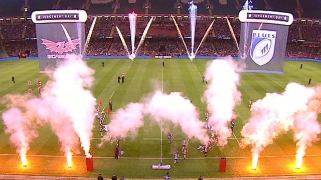 Fireworks celebrations before a regional rugby match