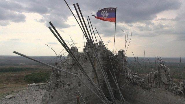 Damaged building in Ukraine