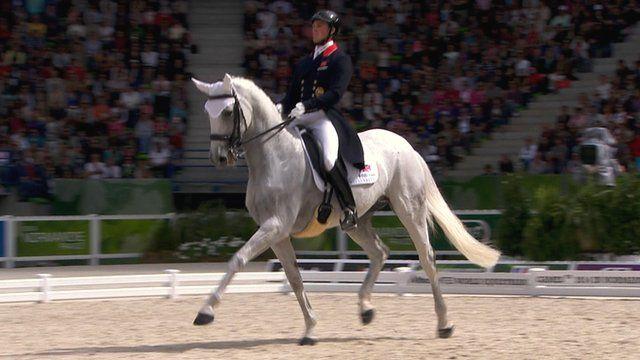 Britain's Michael Eilberg and Half Moon Delphi at the World Equestrian Games