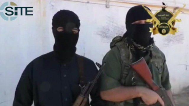 Still of men from Islamic extremists' propaganda video