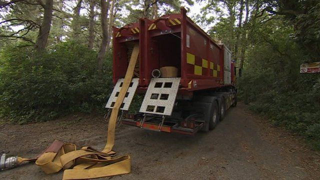 Fire engine at Wareham landfill