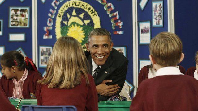 Barack Obama at Mount Pleasant School in Newport