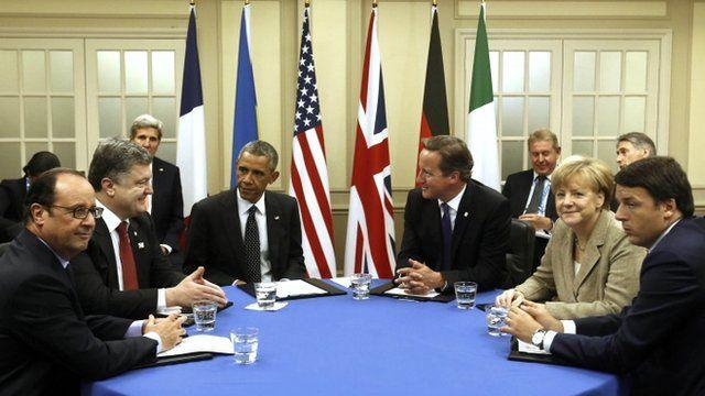 Barack Obama, David Cameron, Angela Merkel and other Nato leaders