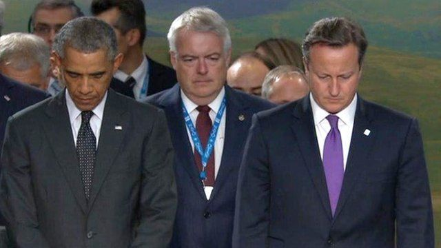 President Barack Obama, Prime Minister David Cameron and Wales' First Minister Carwyn Jones