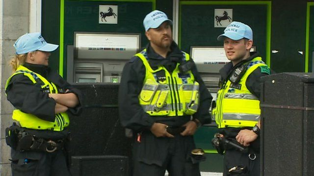 Police on duty in Cardiff during the Nato summit